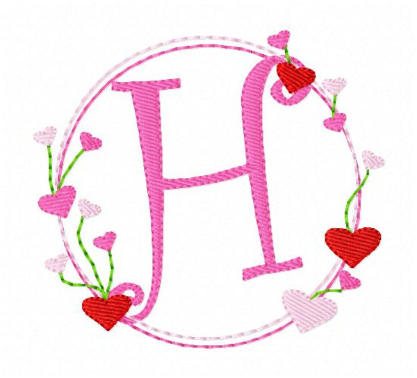 Valentine Heart Circle Monogram Embroidery Font Design Set