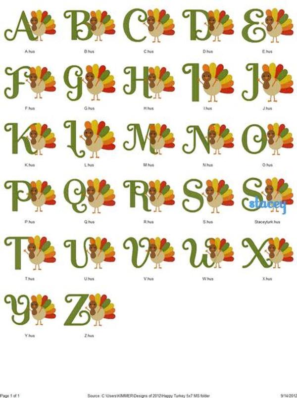Happy Turkey 5x7 Monogram Set