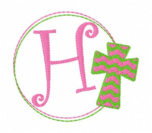 Cross Circle Easter Monogram Machine Embroidery Font Design Set