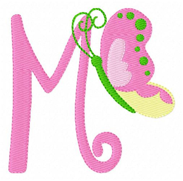 Butterfly Spring Machine Embroidery Monogram Font Design Set