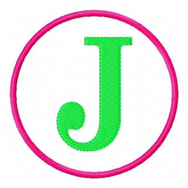 Circle Applique Monogram Embroidery Font Design Set