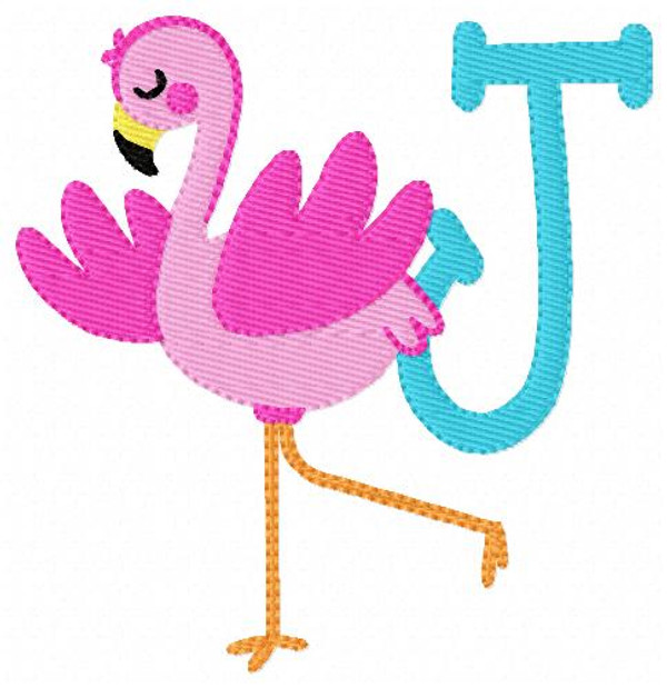 Fun Tropical Flamingo Monogram Embroidery Font Design Set