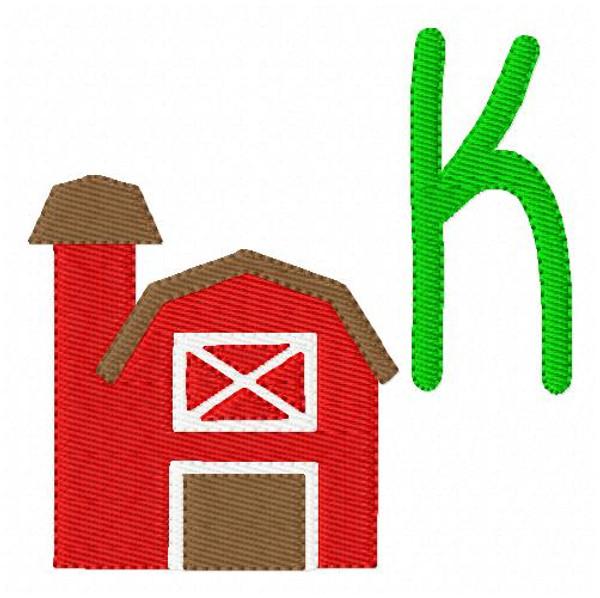 Farm Living Barn Monogram Machine Embroidery Font Design Set