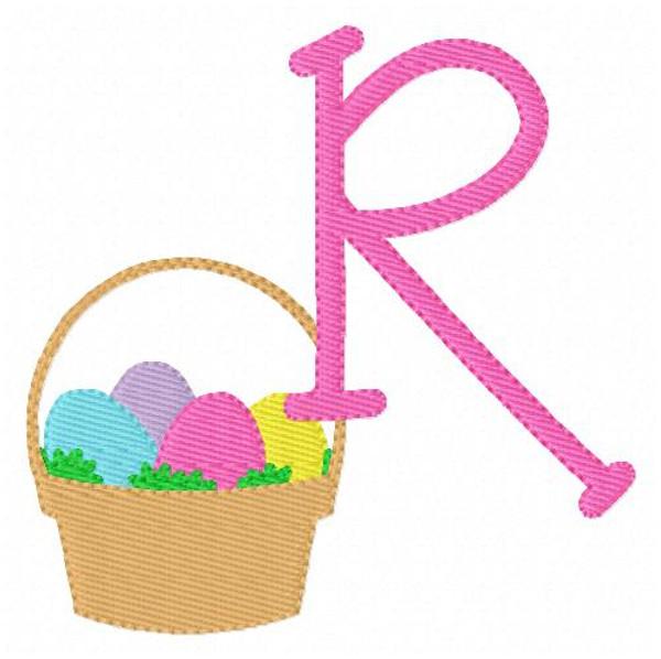 Easter Basket Spring Machine Embroidery Font Monogram Design Set