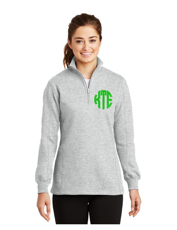Ladies 1/4-Zip Sweatshirt with Monogram