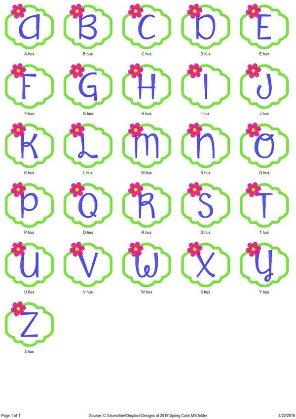Spring Cutie Flower Machine Embroidery Monogram Font Design Set