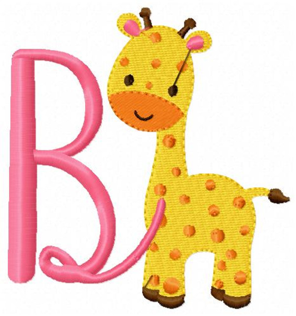 Giraffe Cutie Machine Embroidery Monogram Font Design Set