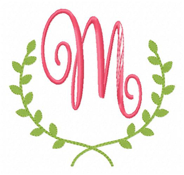 Ivy Machine Embroidery Monogram Font Design Set