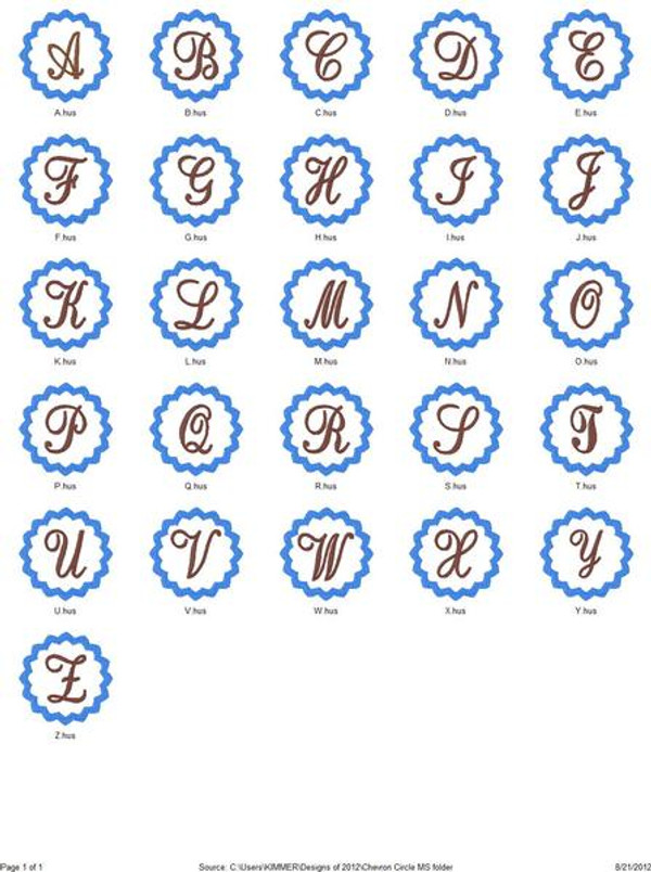 Chevron Circle Monogram Set