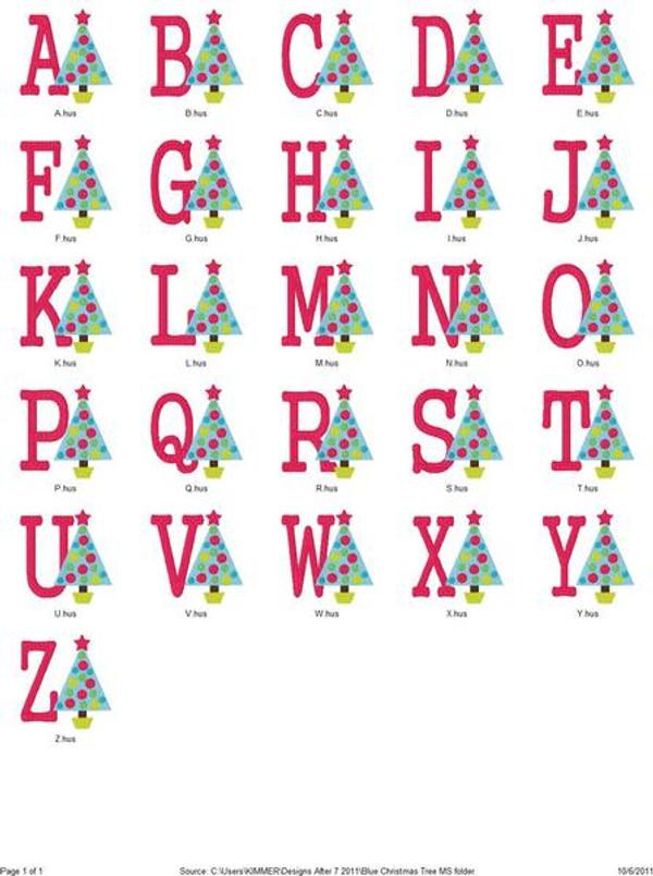 Blue Christmas Tree Dot Monogram Set