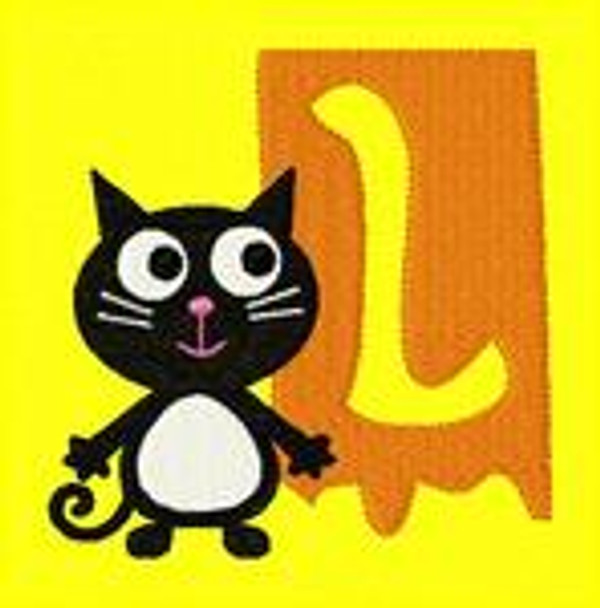 Black Kitty Cat Spooky Monogram Set