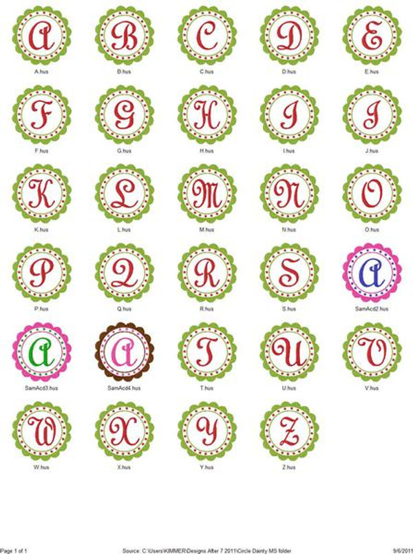 Circle Dainty Christmas Monogram Set