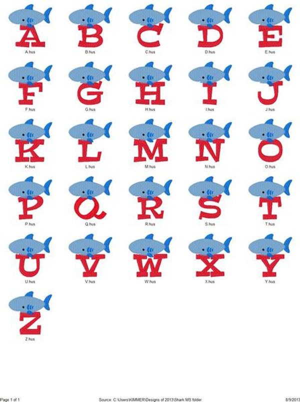 Shark Monogram Set