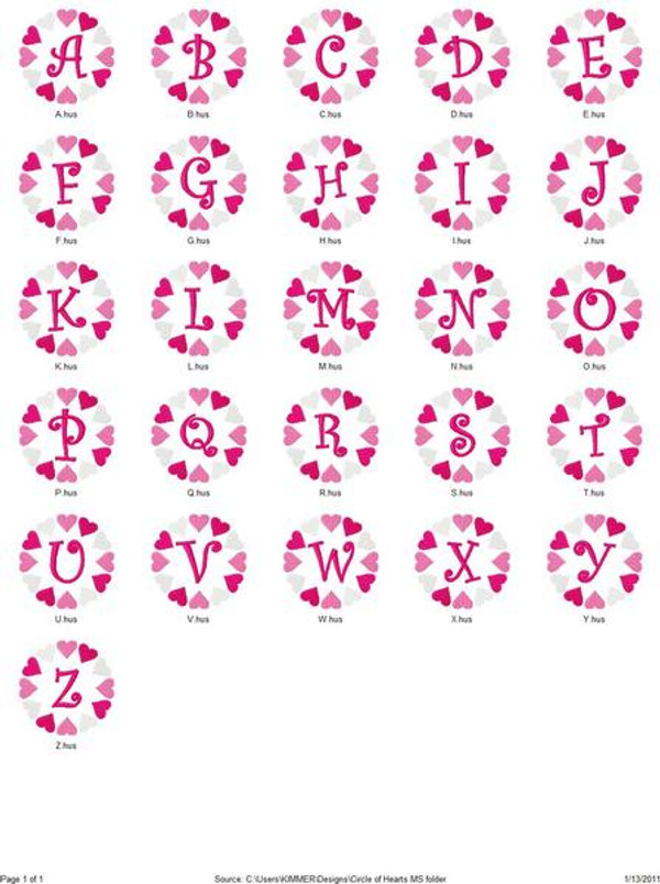 Circle of Hearts Monogram Set