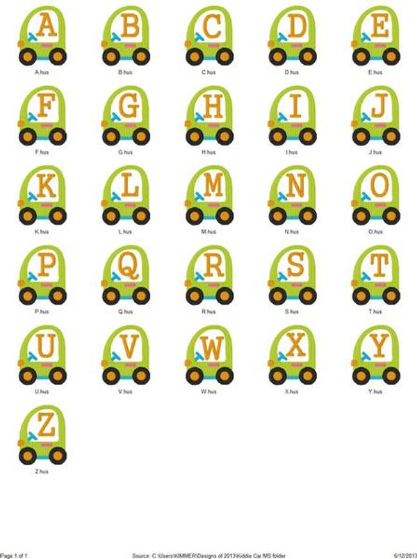 Kiddie Car Monogram Set