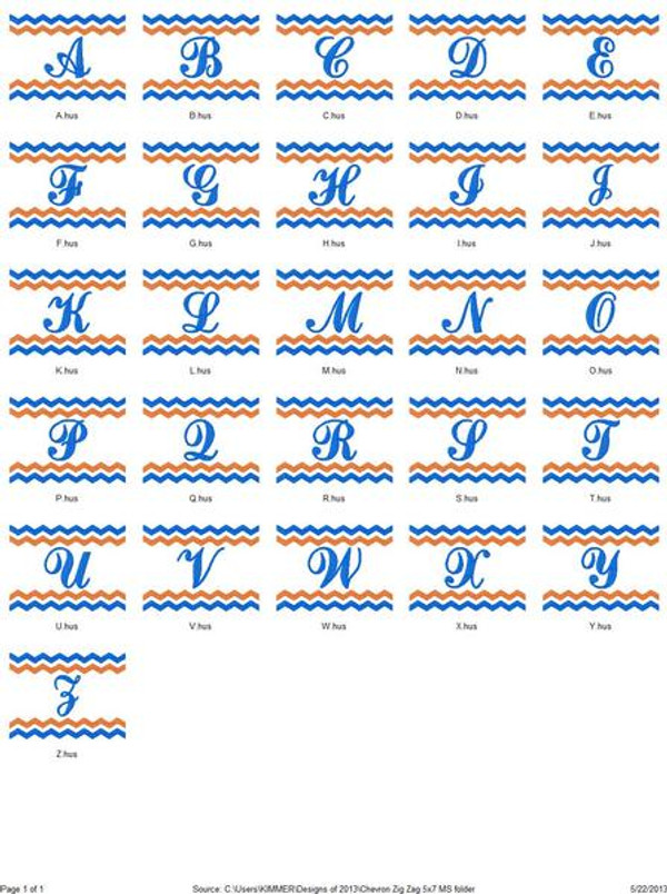 Chevron Zig Zag 5x7 Monogram Set
