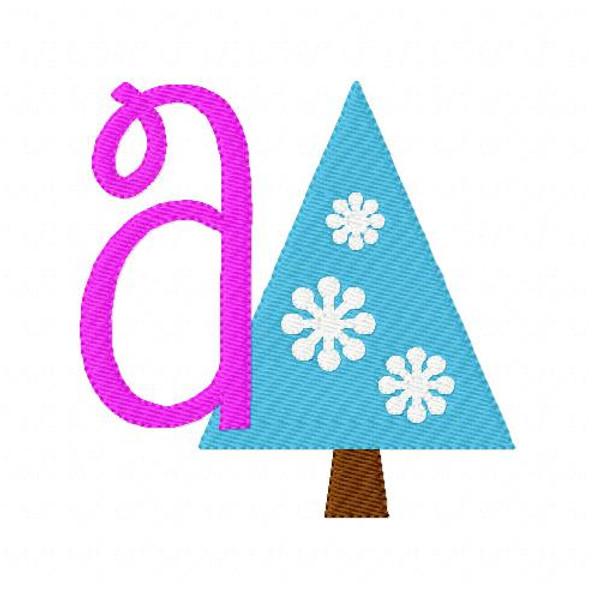 First Snow Winter Christmas Tree Monogram Machine Embroidery Font Set