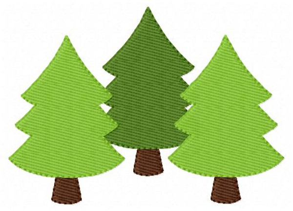 Three Christmas Tree Embroidery Design