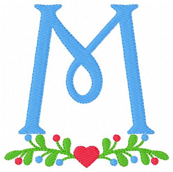 Heart Vine Monogram Embroidery Design Set