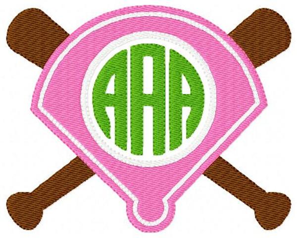Softball Three Letter Monogram Embroidery Set