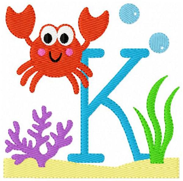 Sea Crab Monogram Embroidery Design set
