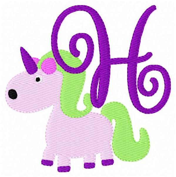 Unicorn Cutie Monogram Embroidery Set