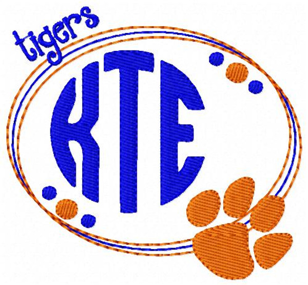 Tigers Paw Print Oval 3 Letter Monogram Embroidery Design Set