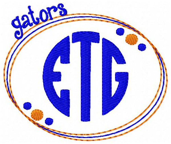 Gators 3 Letter Monogram Embroidery Design Set