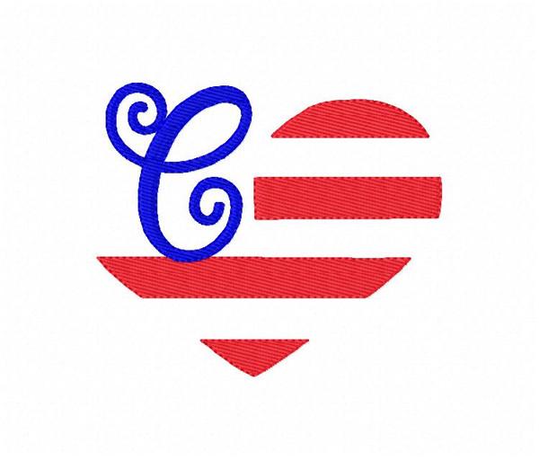 Heart Flag Monogram Machine Embroidery Design Set