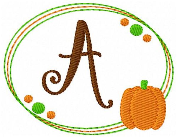 Pumpkin Fall Monogram Font Embroidery Design Set