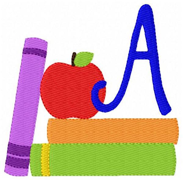 School Monogram Embroidery Design Set