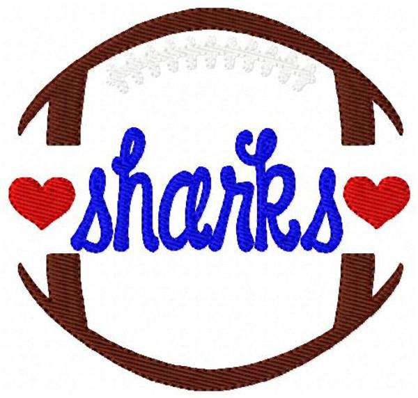 Sharks Football Sports Machine Embroidery Design