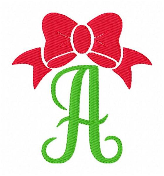 Bow Monogram Embroidery Design Font Set