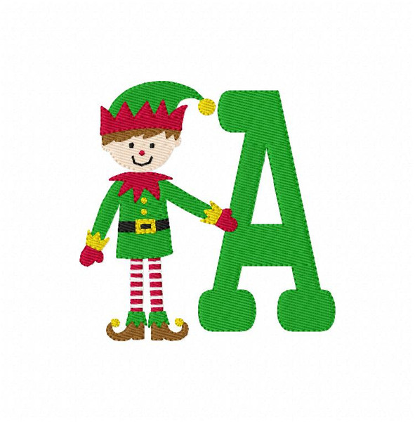 Christmas Elf Monogram Embroidery Design Font Set