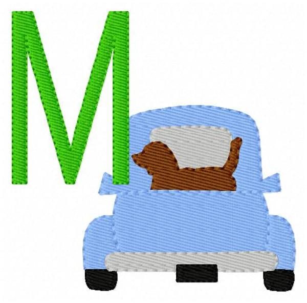 Truck with Dog Retriever Machine Embroidery Monogram Font Design Set