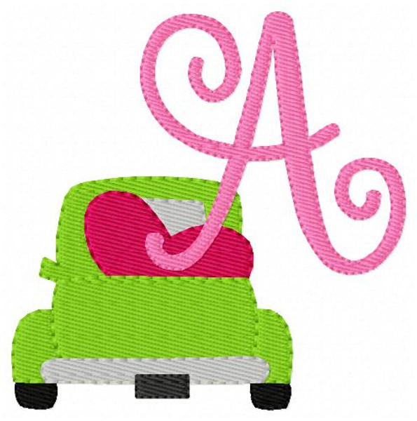 Truck with Valentine Heart Monogram Embroidery Font Design Set