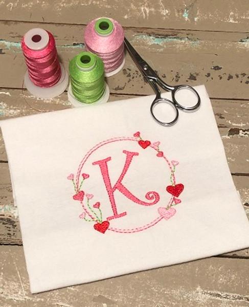 Valentine Heart Circle Monogram Embroidery Font Design Set