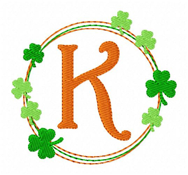 Luck of the Irish St. Patrick's Day Clover Monogram Machine Embroidery Font Design Set