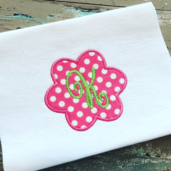 Flower Applique Monogram Embroidery Font Design Set