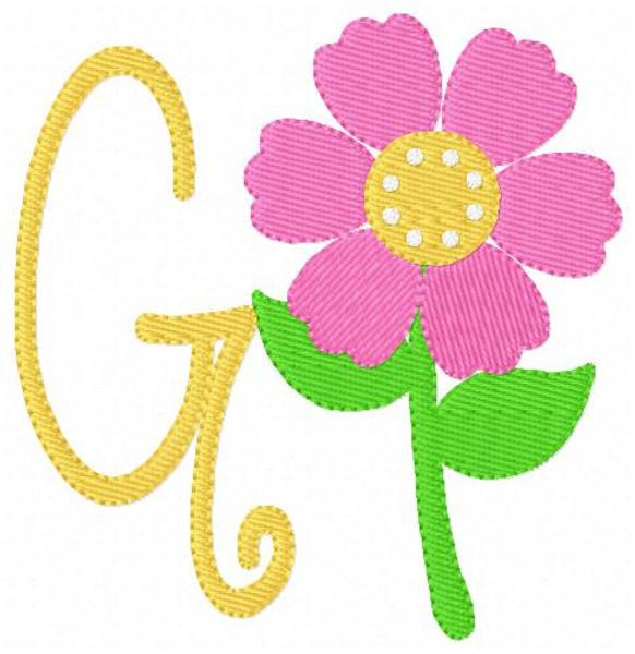 Spring Flower Monogram Embroidery Font Design Set