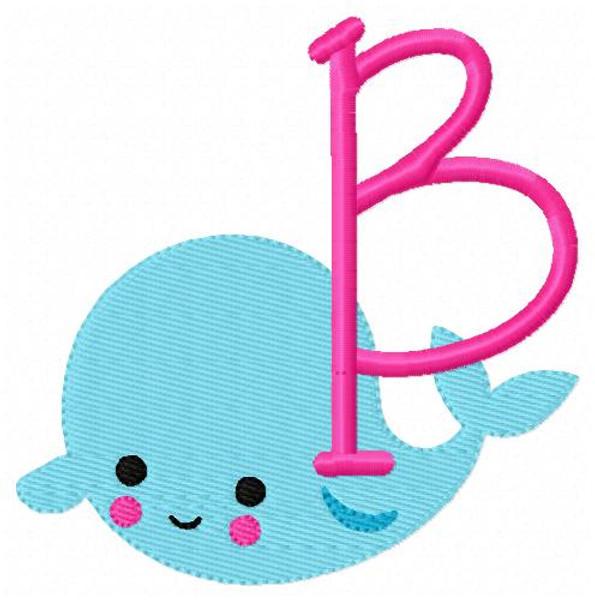 Whale Cutie Machine Embroidery Monogram Design Set