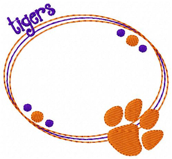 Tigers Oval Monogram Embroidery Frame Only Design (No Letters Included)