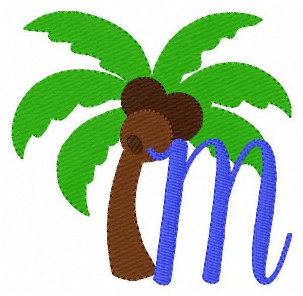 Island Breeze Palm Tree Machine Embroidery Monogram Font Design Set