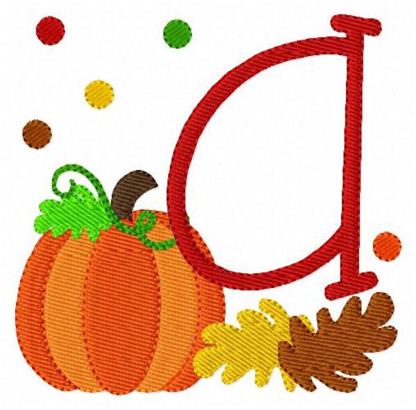 Pumpkins of Fall Monogram Embroidery Font Design Set