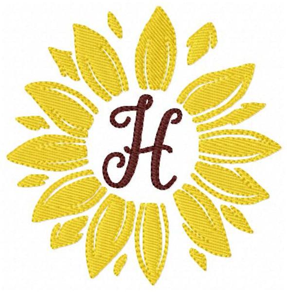 Sunflower Fall Monogram Embroidery Font Design Set