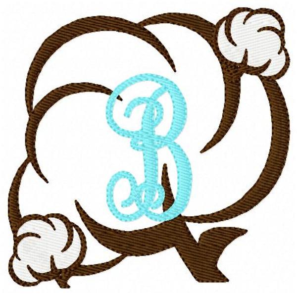 Cotton Boll Monogram Machine Embroidery Font Design Set