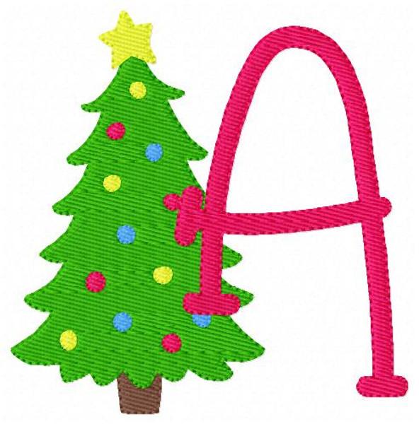 Christmas Tree Monogram Font Embroidery Design Set