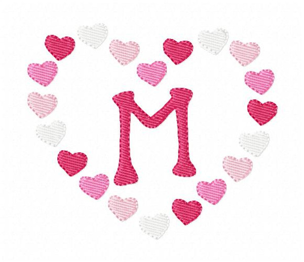 Heart Confetti Monogram Machine Embroidery Font Design Set