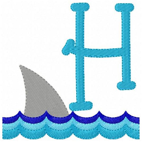 Shark Fin Monogram Embroidery Font Set