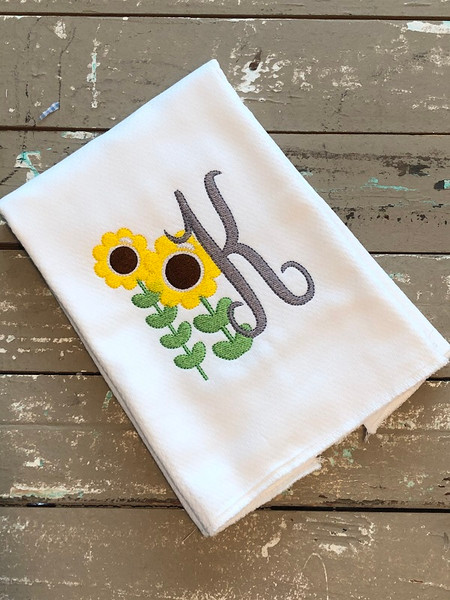 Sunflower Field Monogram Embroidery Font Design Set